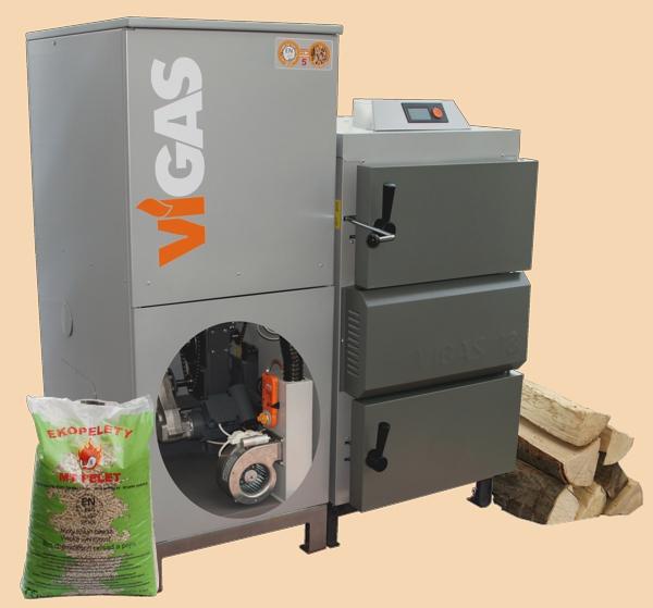 Centrala termica combi pe lemn cu gazeificare si pe peleti VIGAS 18 DPA 24/18 kW