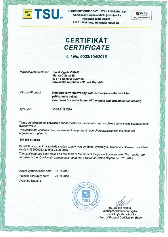 Centrala termica combi pe lemn cu gazeificare si pe peleti VIGAS 18 DPA 24/18 kW certificat EN303-5:2012