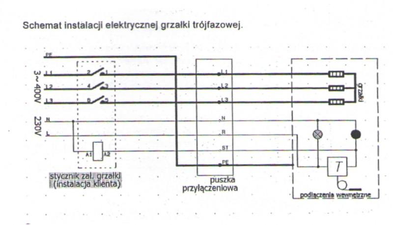 Rezistenta electrica trifazata 9 KW cu termostat - schema electrica