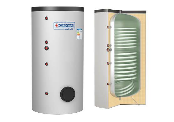 Boiler termoelectric emailat cu doua serpentine CORDIVARI BOLLY FIT 200 litri