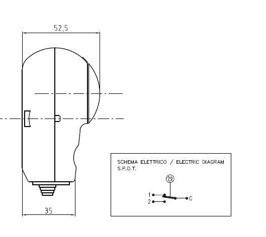 Termostat de imersie tub capilar productie Arthermo Italia - vedere laterala