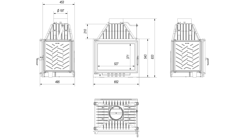 Focar de semineu din fonta Z120 ECO 12 kW - dimensiuni de gabarit