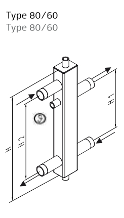 Butelie de egalizare SINUS 80/60 + izolatie EPP - 4.5 m³/h - schema
