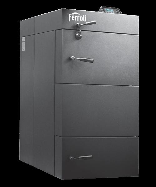 Centrala termica pe lemn cu gazeificare Ferroli CGF 25 kW cu panou de comanda digital