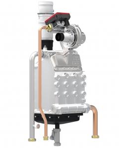 Centrala termica pe gaz FERROLI FORCE W -  vedere vana de gaz, ventilator si schimbator de caldura