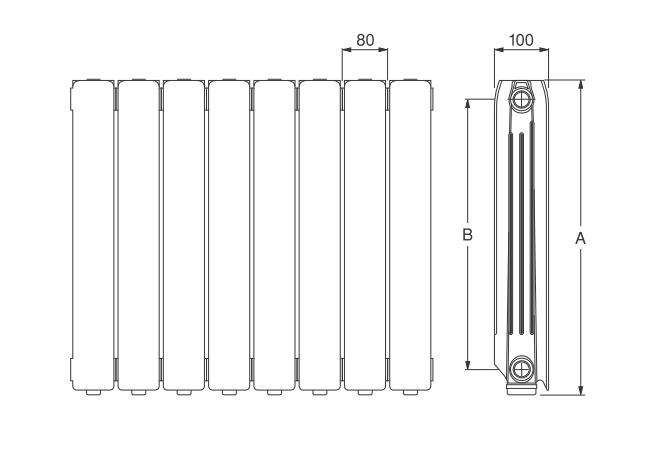 Radiator din aluminiu Ferroli Nereos 700 HP - dimensiuni de gabarit