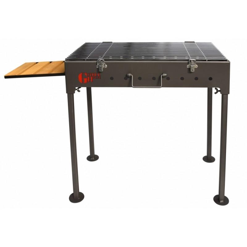Gratar de gradina pe lemn/carbuni din otel GRILLHOUSE 58x30 cm portabil