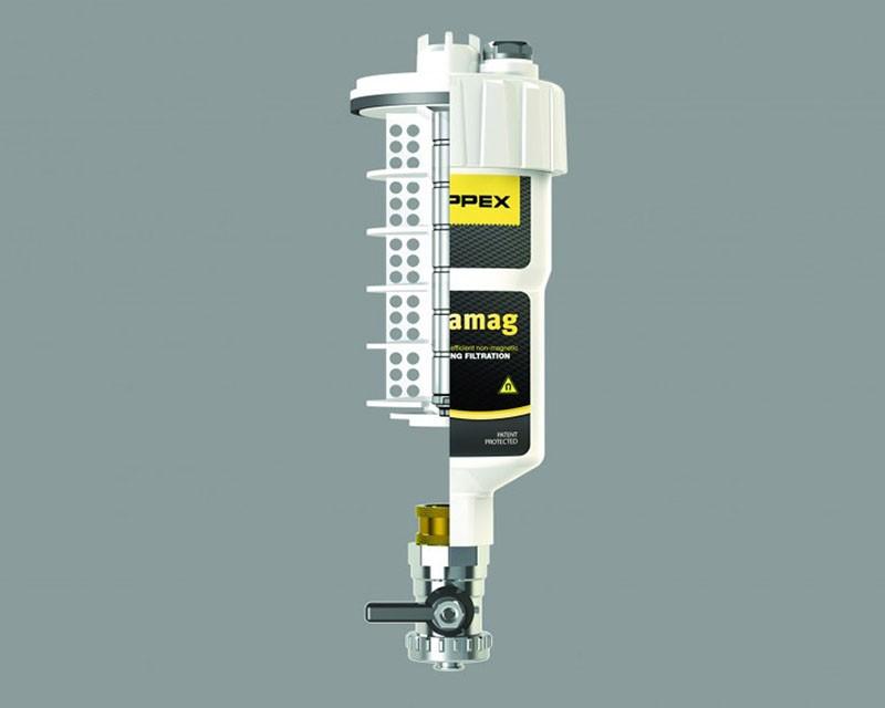 Filtru dual pentru impuritati magnetice si nemagnetice CENTRAMAG 1 DN 22 mm - vedere in sectiune