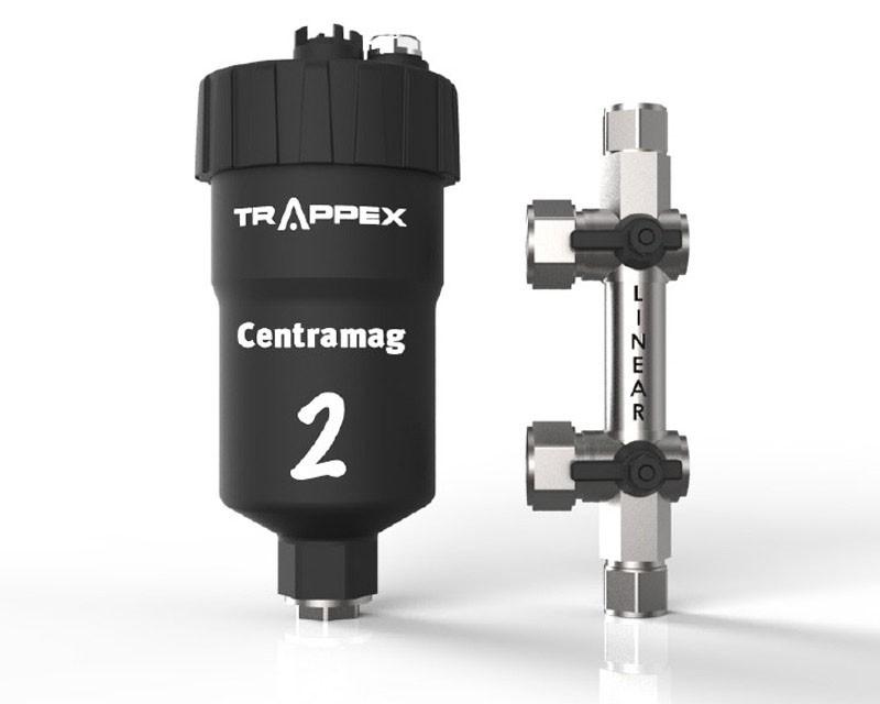 Filtru dual pentru impuritati magnetice si nemagnetice CENTRAMAG 2 INLINE DN 22 mm - vedere frontala filtru cu dispozitivul de conectare demontat