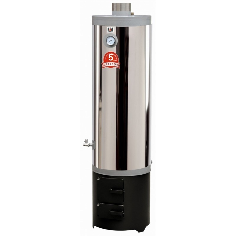 Ansamblu boiler inox 70 L cu focar cu usi din tabla 5 ani garantie
