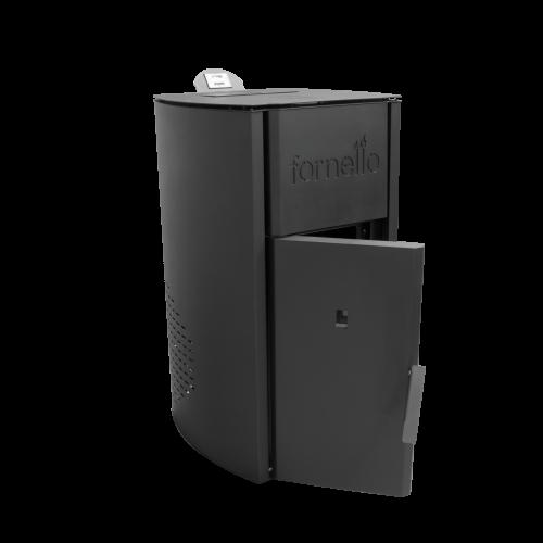 Centrala termica pe peleti FORNELLO ROYAL 25 kW - vedere cu usa deschisa