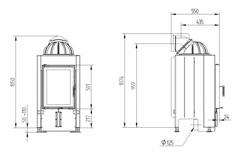 Semineu pe lemn tip insert premium HOXTER HAKA 37-50 cu cupola - desen tehnic