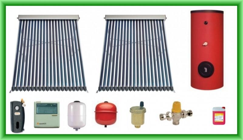Pachet solar cu doua panouri cu tuburi vidate SPA-S58/1800A-20 si boiler SON V S2/300 300 litri