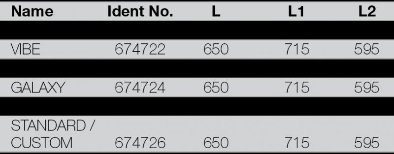 RIGOLA DE SCURGERE PENTRU DUS LIV 650 - tabel cu dimensiuni