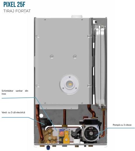 Centrala termica pe gaz ARCA PIXEL 25F - vedere interioara