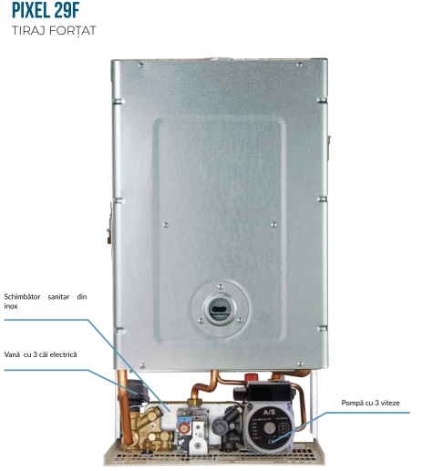 Centrala termica pe gaz ARCA PIXEL 29F - vedere interioara