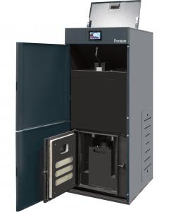 Centrala termica pe peleti cu autocuratare Ferroli BioPellet Premium - vedere cu usile deschise