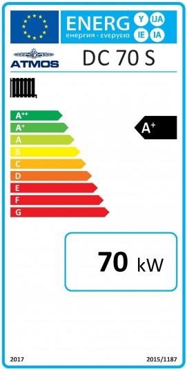 Centrala termica pe lemn cu gazeificare ATMOS DC70S 70 kW - eticheta energetica