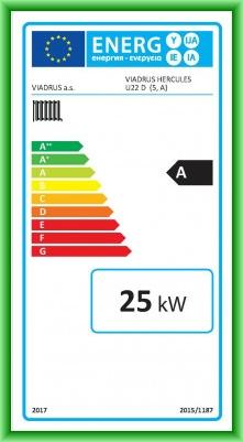 Eticheta energetica centrala termica pe lemn din elementi de fonta VIADRUS U22D 25 kW