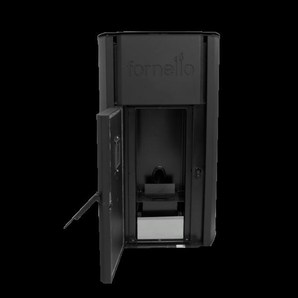 Centrala termica pe peleti FORNELLO ROYAL 30 kW - cu usa deschisa