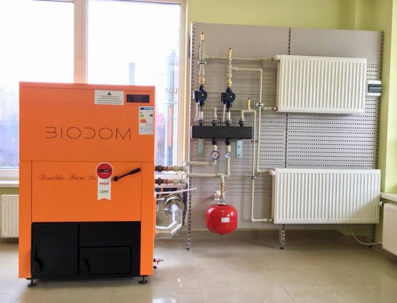 Centrala termica pe peleti BIODOM B34 30 kW - exemplu de montaj