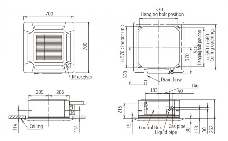 Echipament de climatizare tip caseta FUJITSU AUYG12LVLB/AOYG12LALL 12000 BTU - desen tehnic