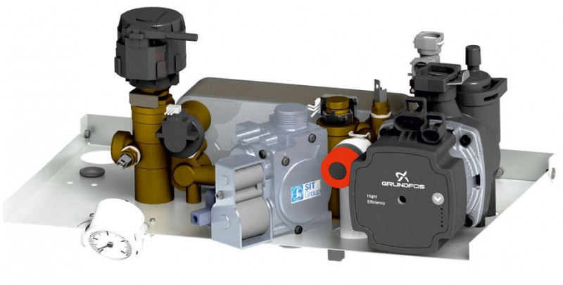 Centrala termica pe gaz in condensatie MOTAN CONDENS PLUS 100 - grup hidraulic si vana de gaz