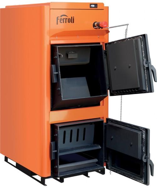 Centrala termica pe lemn Ferroli FSB PRO vedere stanga cu usile deschise