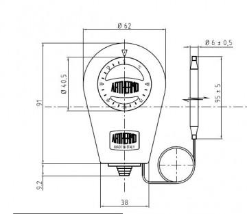 Poza Termostat de imersie tub capilar productie Arthermo Italia - vedere fata
