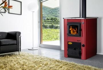 Poza Soba de gatit pe lemn cu incalzire centrala Concept 2 Mini - rosu
