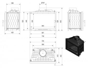 Poza Focar de semineu din fonta W140 Modern 14 kW - dimensiuni de gabarit