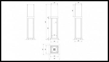 Poza Semineu pe peleti pentru uz exterior TORCH 4,4 kW - dimensiuni constructive