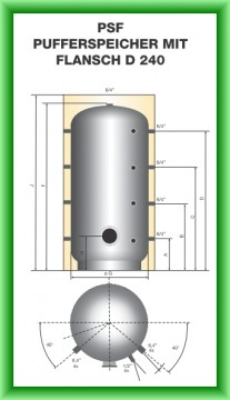 Poza Puffer fara serpentina cu flansa Austria-Email model PSF - desen tehnic 2