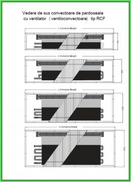 Poza Ventiloconvector de pardoseala RADOX RCF - desen tehnic, vedere de sus