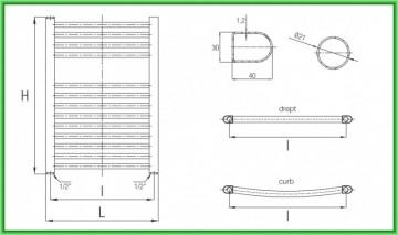 Poza Radiator port-prosop FERROLI TALIA - desen tehnic