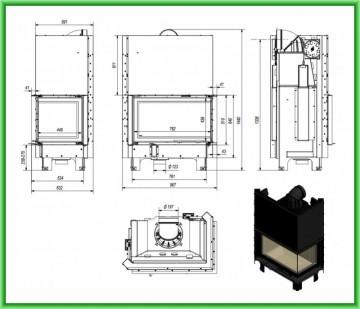 Poza Semineu tip insert MBO 15 cu geam pe doua laturi si usa tip ghilotina 15 kW - desen tehnic