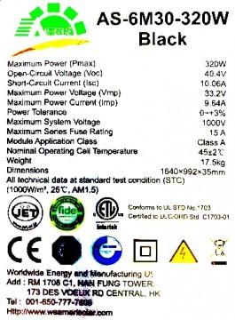 Poza Panou solar fotovoltaic monocristalin AMERISOLAR AS-6M30-320 W - eticheta de timbru
