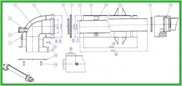 Poza Kit de evacuare coaxial pentru centrale termice in condensare Motan - desen tehnic