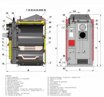 Poza Centrala termica pe lemn cu gazeificare ATMOS DC22SX - desen tehnic