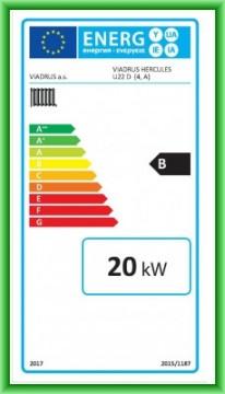 Poza Eticheta energetica centrala termica pe lemn din elementi de fonta VIADRUS U22D 20 kW