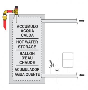 Poza Supapă de siguranță combinată temperatură și presiune 90 °C si 3 bar - exemplu de montaj