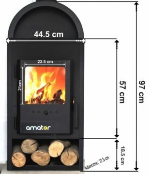 Poza Soba-semineu AMATOR W9 9 kW - dimensiuni de gabarit