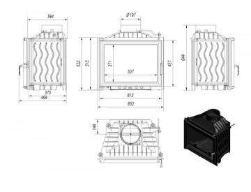 Poza Focar Semineu pe lemn E120 dimensiuni de gabarit