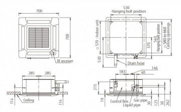 Poza Echipament de climatizare tip caseta FUJITSU AUYG24LVLA/AOYG24LALA 24000 BTU - desen tehnic