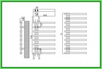 Poza Radiator port-prosop decorativ alb RADOX LINX - desen tehnic